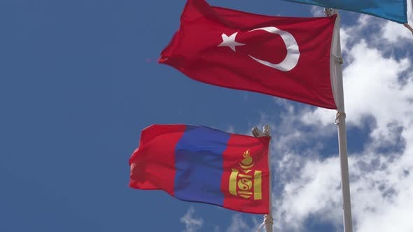 Thumbnail for Turkey and Mongolia Flag Waving on Flagpole