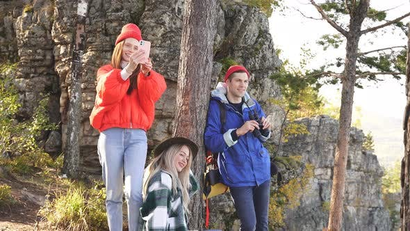 Caucasian Friends Enjoy Time on Mountains