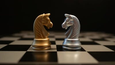 Knight chess game on board