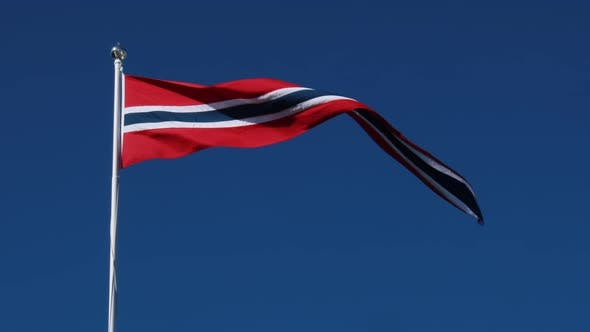 Thumbnail for Norway Pennant Flag Waving in the Wind Against Deep Blue Sky.