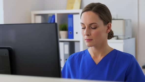 Thumbnail for Doctor or Nurse with Computer Working at Hospital
