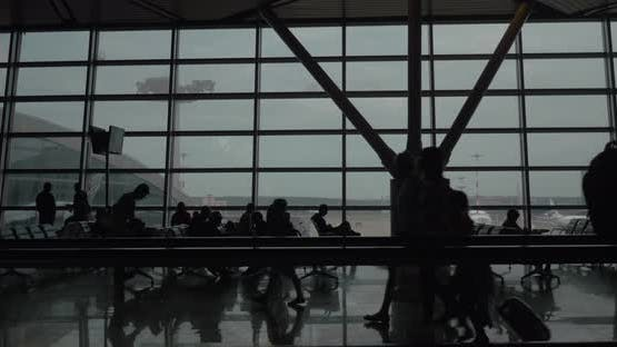 People in Airport Waiting Lounge, Timelapse