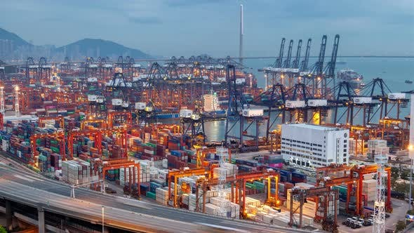 Thumbnail for Container Terminal Special Hong Kong Cranes Load Cargo Vessels