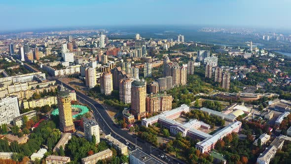 Thumbnail for Aerial View of Pechersk, Elite District of Kiev, Expensive Real Estate in the Center of Kyiv