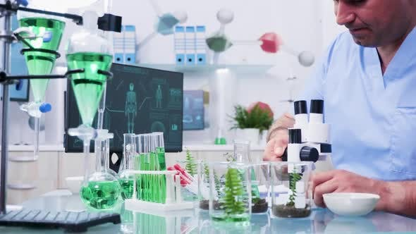 Assistant in Modern Laboratory Looking Into the Microscope