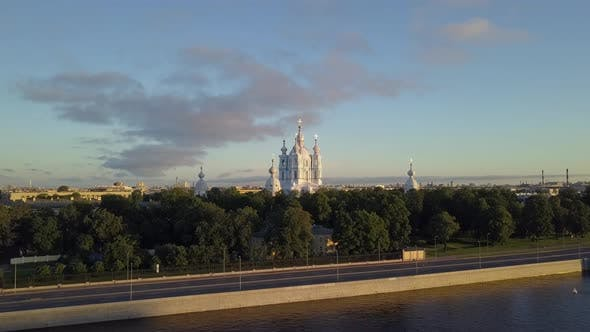 Thumbnail for Aerial View on the Smolny Cathedral at Neva River in Saint-Petersburg. Beautiful City Panorama