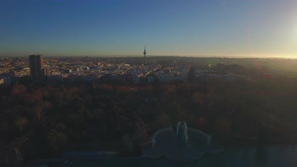 Aerial scene of Madrid with Buen Retiro Park in winter morning, Spain