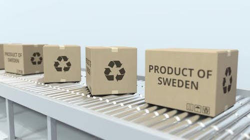 Cartons with PRODUCT OF SWEDEN Text on Roller Conveyor