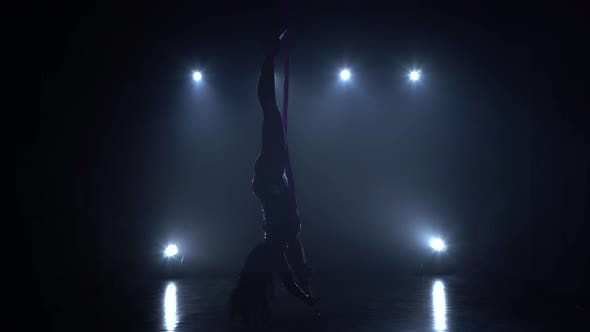 Thumbnail for Girl Aerial Gymnast Performing on a Silk in a Circus Stage. Exciting Acrobatic Show. 074