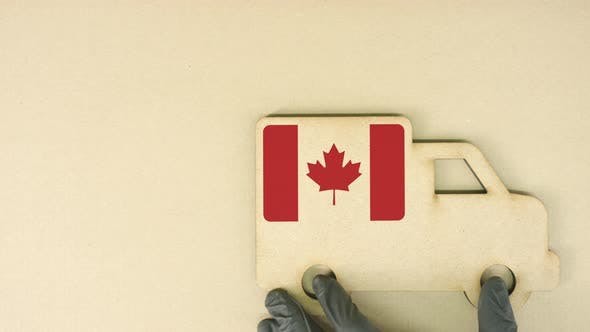Flag of Canada on the Recycled Cardboad Truck Icon