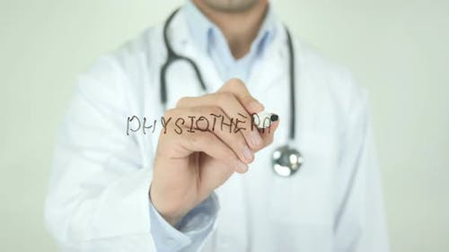 Physiotherapy, Doctor Writing on Transparent Screen