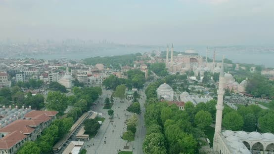 Thumbnail for Istanbul Historical Peninsula And Hagia Sophia Aerial View 9