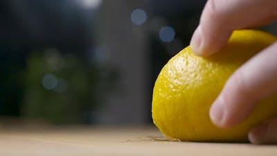 Cutting Fresh Spraying Lemon