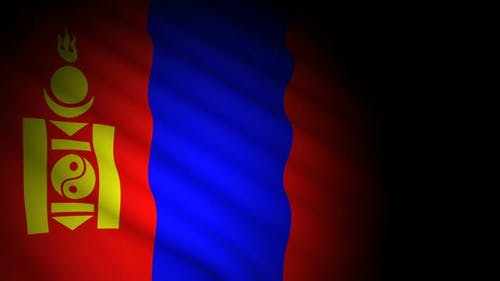 Mongolia Flag Blowing in Wind