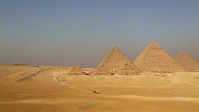 Panorama of Great Pyramids at Giza Cairo in Egypt