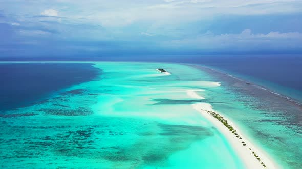 Thumbnail for Beautiful drone tourism shot of a paradise sunny white sand beach and aqua turquoise water