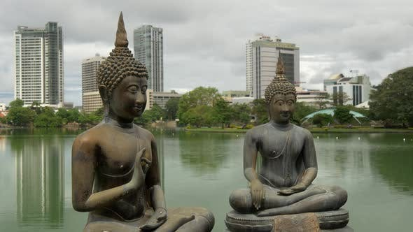 Time lapse from the Buddhism statues at the Simamalaka shrine