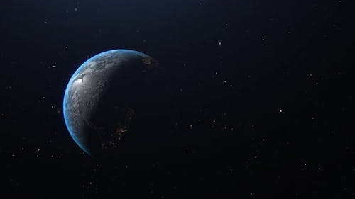 Slow Earth Reveal With Lights And Stars