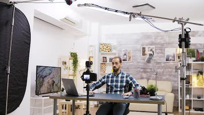 Behind the Scenes of Young Vlogger Using Modern Technology