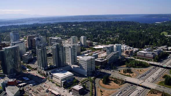 Thumbnail for Helicopter Aerial Rotating Bellevue City Buildings