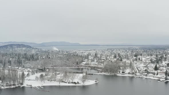 Thumbnail for Flying Towards Bellingham Washington Downtown Snowy Winter Landscape Aerial Above