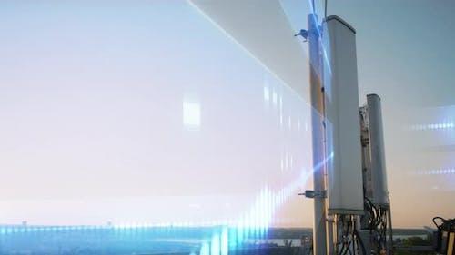 Modern Antenna Transmitting Data at Sunset
