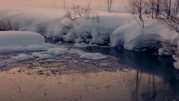 Thumbnail for Unfrozen Stream Winter Evening