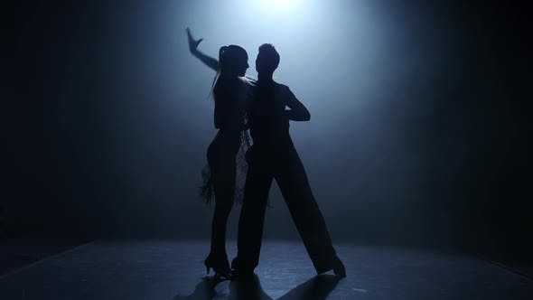 Thumbnail for Dance Element From the Ballroom-sport Program, Silhouette Couple Ballroom. Smoke