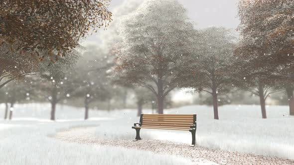 Bench In The Park In The Snow In Winter