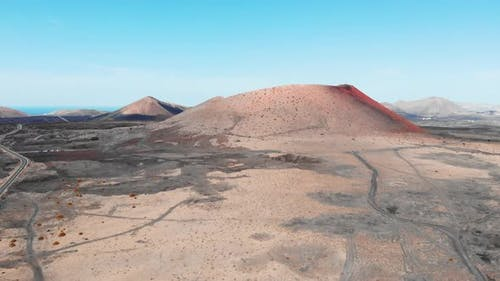 Approaching in Air to Large Crater on Lanzarote Island Canaries