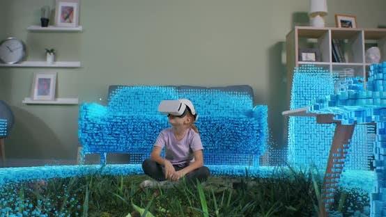 Girl Immersing Into Virtual World