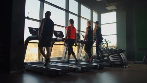 Thumbnail for Two Young Fitness Healthy Women on Treadmill in Sport Modern Gym. Fitness, Sport, Training, People