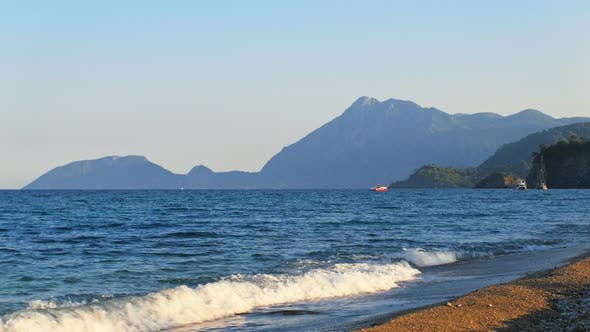 Thumbnail for Mediterranean Coast of Turkey, Boats and Ships Are Floating Near Shore, Mountains on a Cape