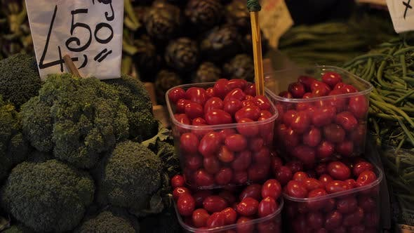 Thumbnail for Tomatoes and Greens on Street Market in Europe.