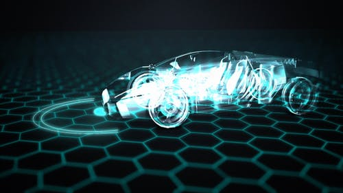 Futuristic automated supercar with artificial intelligence (AI)