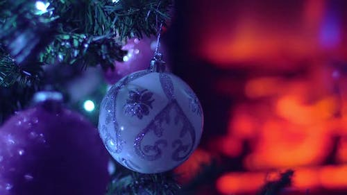 New Year Fir Tree Decorated Christmas Balls and Toys