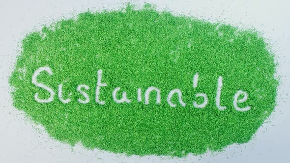 Indian Hand Writes On Green Sustainable
