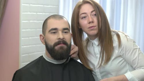 Female Barber and Her Customer