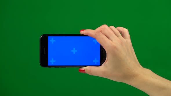 Thumbnail for Blue Screen Smartphone in Hands. Green Screen