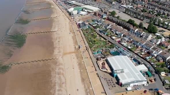 Aerial footage of the British seaside town of Hunstanton Norfolk in the UK