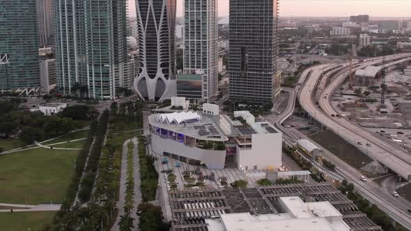 Aerial Parallax Frost Museum Of Science Downtown Miami