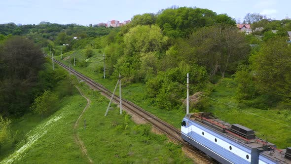 Electric Train Locomotive Moving On Railroad