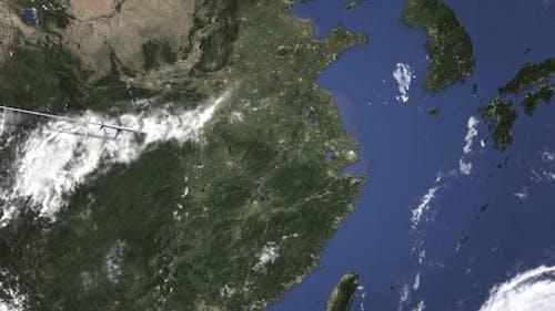 Airplane Flying To Shanghai China