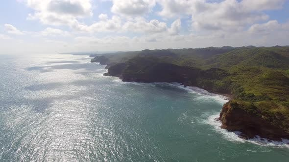 Thumbnail for Aerial view of rock formation coastal line, Jogjakarta, Indonesia