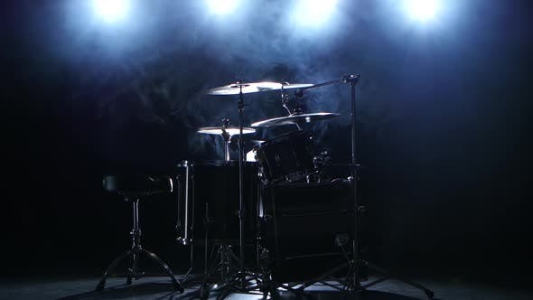 Thumbnail for Professional Drum Set with Chair. Black Smoky Background. Back Light. Side View