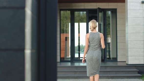 Thumbnail for Business Woman Entering Luxury Office Back View with Laptop