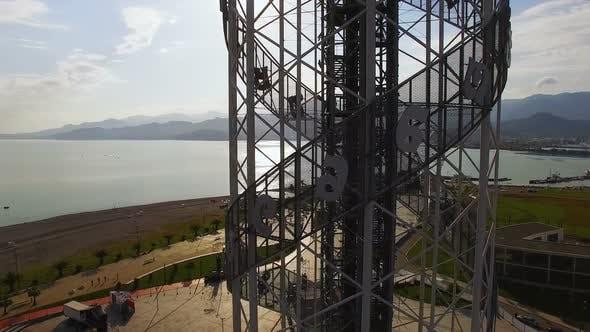 Thumbnail for Alphabetic tower in Batumi Georgia against Black Sea and seafront area, culture
