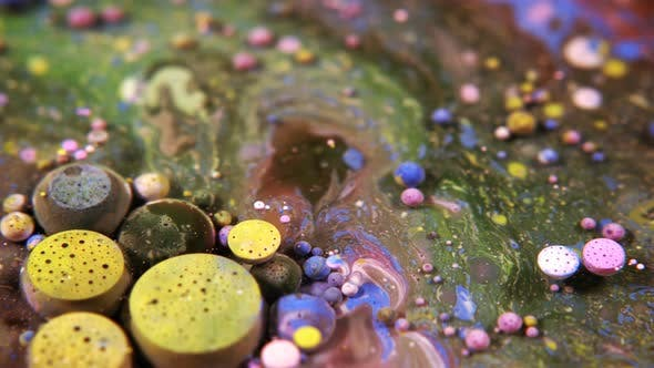 Thumbnail for Abstract Colorful Acrylic And Food Paint Bubbles On Water