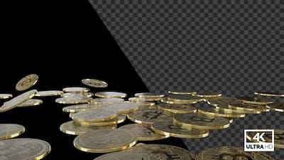 Falling Golden Bitcoin On The Floor