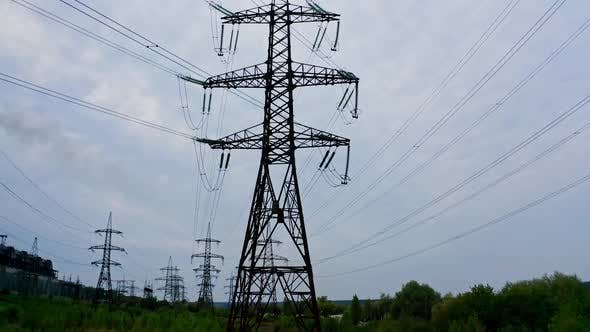 Electricity transmission power lines. Power line of the electric wires